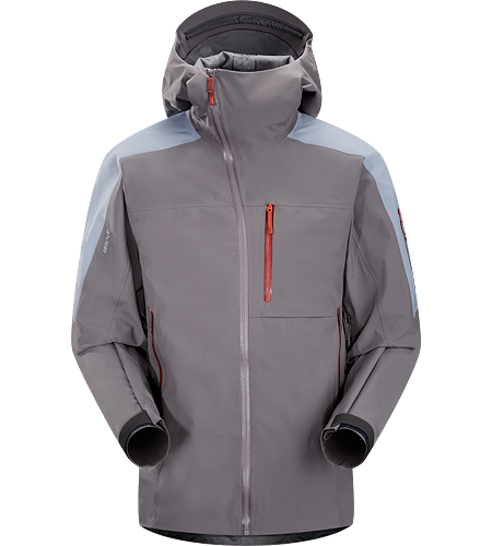Sidewinder Jacket Men's Tough waterproof hardshell jacket with StormHood™,  Slide 'n Loc™ snap system on the powder skirt, and enhanced GORE-TEX® fabric with a softer face. Sidewinder front zipper curves away from your face.