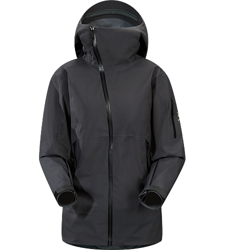 Sidewinder Jacket Women's Tough waterproof hardshell jacket with Storm Hood. Sidewinder front zipper curves away from your face.