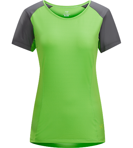 Skeena SS Women's Light, moisture-wicking short sleeve technical T-Shirt constructed with two types of stretch textile for breathable comfort and added durability; ideal for trekking and hiking adventures.