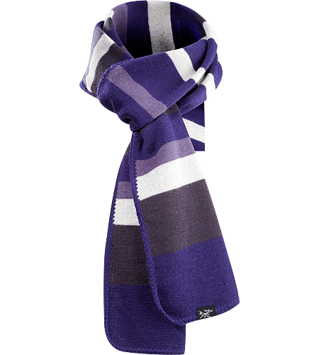 Stroyer Scarf Finely knit, wool/acrylic blend scarf with brightly coloured horizontal stripes and blanket stitched edge