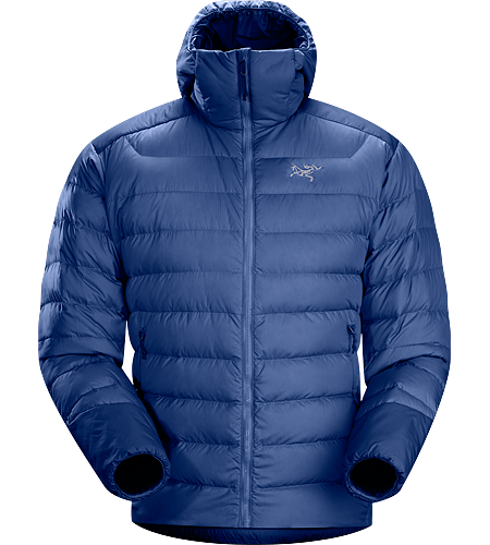 Thorium AR Hoody Men's Down Series: Down insulated garments | AR: All-Round. Generalist down hoody made from durable face fabrics and 750 fill grey goose down. Functions as a warm mid layer or standalone piece for cool, dry conditions.