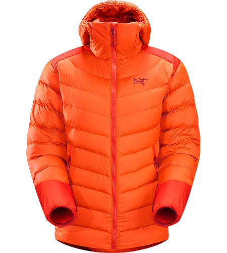 Thorium AR Hoody Women's Down Series: Down insulated garments | AR: All-Round. Generalist down hoody made from durable face fabrics and 750 fill grey goose down. Functions as a warm mid layer or standalone piece for cool, dry conditions.