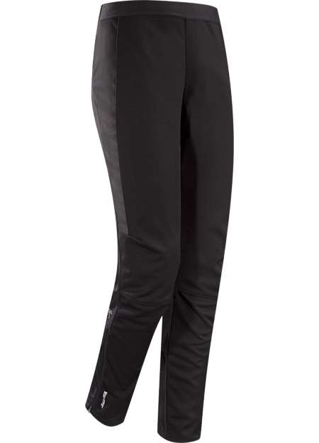 Trino Tight Men's Trim fitted, full length tight for cold, windy conditions, constructed with windproof textile in the front of the legs, and moisture wicking, stretchy knit textile in the back of the legs for comfort and warmth