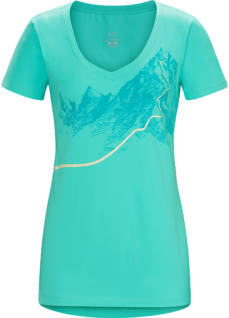 Afterglo V-Neck T-Shirt Women's T-shirt with a night ascent graphic made with organically grown cotton.