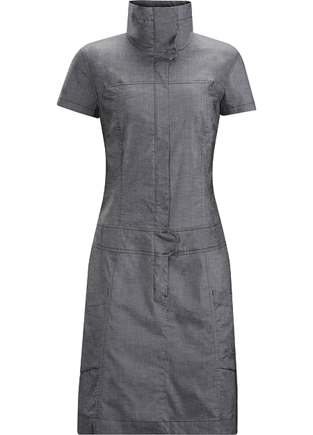 Blasa Dress Women's Tailored, above the knee dress in stretchy cotton chambray fabric. Designed for travel and everyday wear in town.