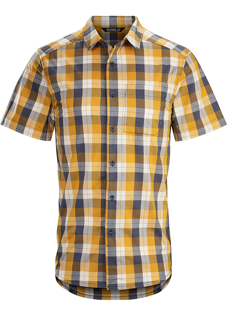Brohm Shirt SS Men's Light, comfortable button front plaid for casual summer days and warm weather travel.