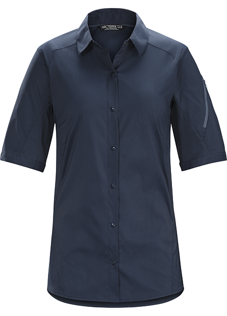 Fernie Shirt SS Women's Light, quick drying, snap-front nylon shirt provides air permeable comfort while hiking and trekking in hot weather.