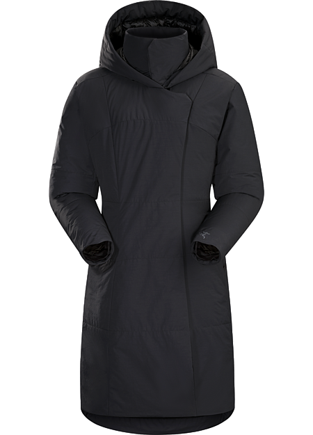 Gambier Parka Women's Long, sophisticated down coat for dry, cold urban environments.