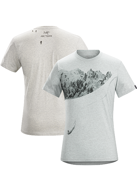 Journey Down T-Shirt Men's Men's cotton T-shirt depicting a day of backcountry ski touring.
