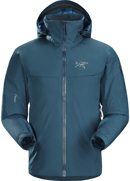 Macai Jacket Men's Athletic fitting, waterproof GORE-TEX, down insulated jacket designed for cold days on-area skiing and snowboarding.