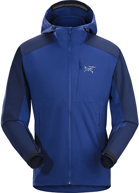 Psiphon FL Hoody Men's Light, hardwearing hybrid construction hooded softshell with a precision fit. Purpose built for rock and alpine climbing.