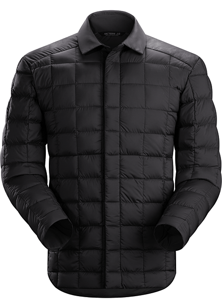 Rico Shacket Men's Light, warm down filled jacket with snap front shirt styling.