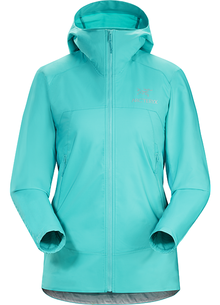 Tenquille Hoody Women's Women's lightweight, packable, wind resistant Kauss™ softshell hoody with air permeable, stretch side panels. Excellent for hiking and trekking in windy, cool conditions.