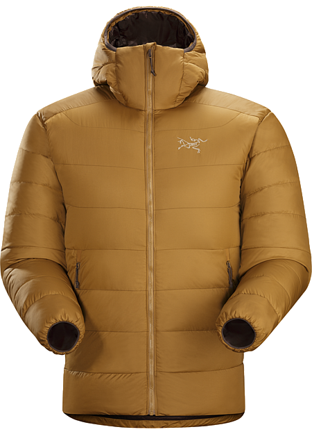 Thorium SV Hoody Men's Very warm, thigh length, box wall constructed 750 fill grey goose down hoody with a light, durable Arato™ 40 face fabric. Down Series: Down insulated garments | SV: Severe Weather.