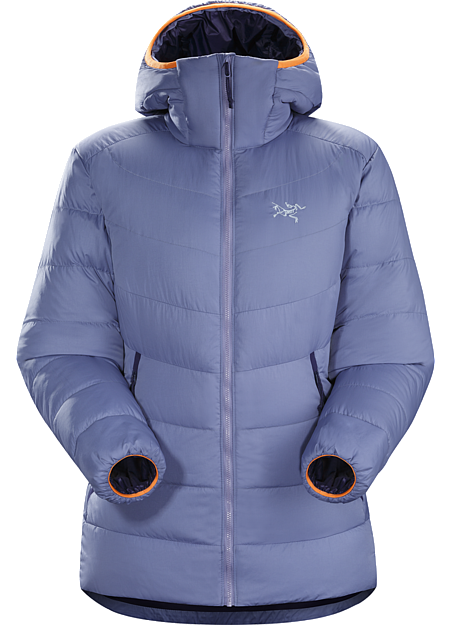 Thorium SV Hoody Women's Women's very warm, thigh length, box wall constructed 750 fill grey goose down hoody with a light, durable Arato™ 40 face fabric. Down Series: Down insulated garments | SV: Severe Weather.