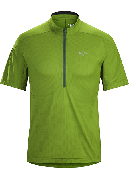 Velox Zip Neck SS Men's Lightweight, highly air permeable Libro™ polyester stretch mesh shirt with a deep front zipper. Designed for high output mountain training, endurance sports and hiking.