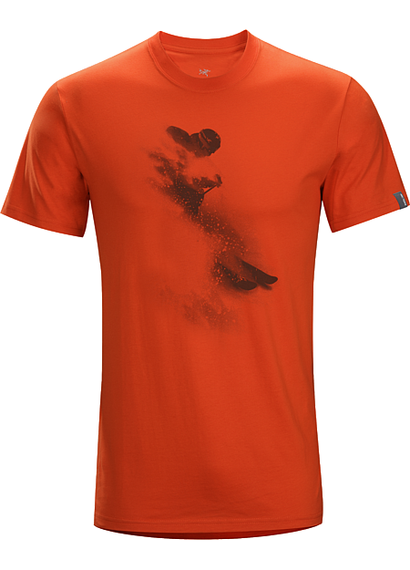 White Rush T-Shirt Men's T-shirt with a graphic of a skier blasting through cold smoke powder.