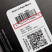 Location of UPC code on product tag