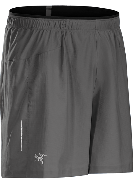 Superlight, quick drying, stretch performance short with built in brief, small side split, and stash security pocket. Designed for high output mountain training and running.