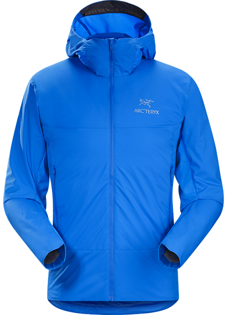 Lightly insulated Coreloft™ Compact hooded jacket with air permeable side panels.