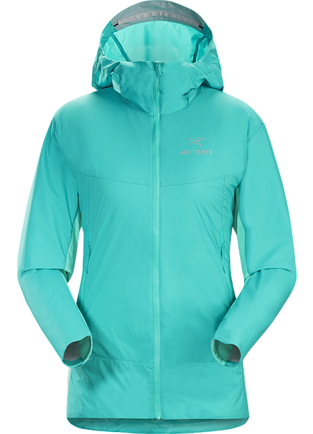 Lightly insulated Coreloft™ Compact hooded jacket with air permeable side panels. Atom Series: Synthetic insulated mid layers | SL: Super light.