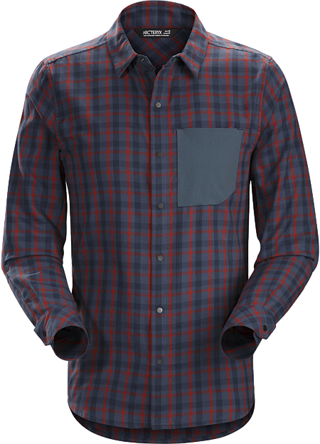 Casual, contemporary flannel shirt for mountain town living.