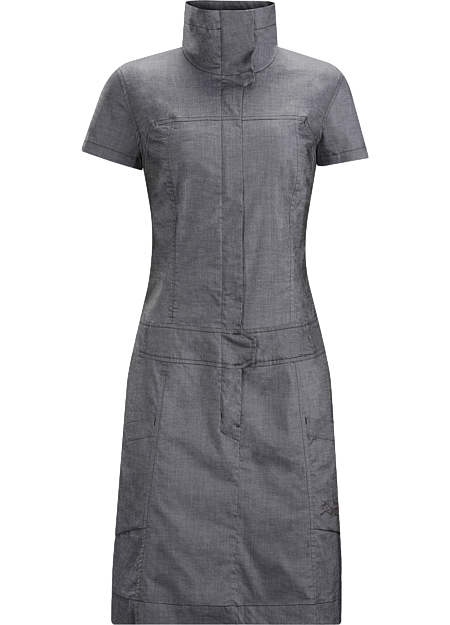 Tailored, above the knee dress in stretchy cotton chambray fabric. Designed for travel and everyday wear in town.