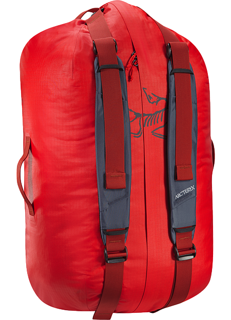 Light, durable, highly water-resistant 55L gear duffle for multiday trips.