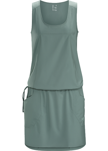 Relaxed fit dress with integrated waist adjuster, constructed with stretchy, quick drying Diem™ textile. Ideal for hot weather use or while travelling.