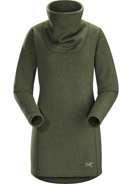 Soft, warm sweater knit fleece with a longer length and contemporary style.