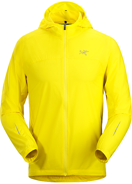 Streamlined, ultralight hooded shell delivers wind and weather protection during high-output mountain training and trail runs.