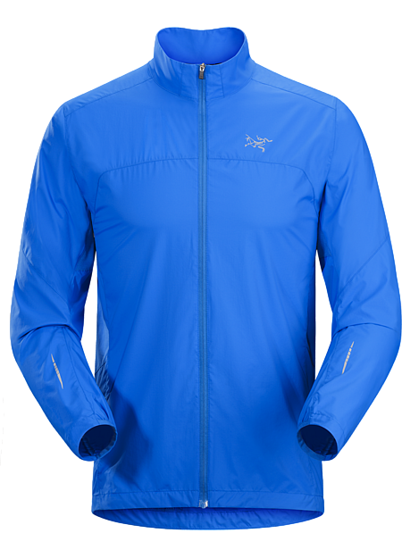 Streamlined, ultralight jacket provides wind and weather protection during high-output mountain training and trail runs.