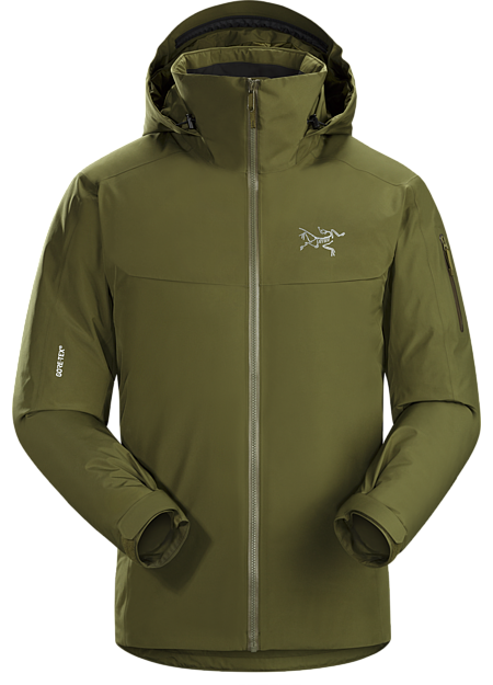 Athletic fitting, waterproof GORE-TEX, down insulated jacket designed for cold days on-area skiing and snowboarding.