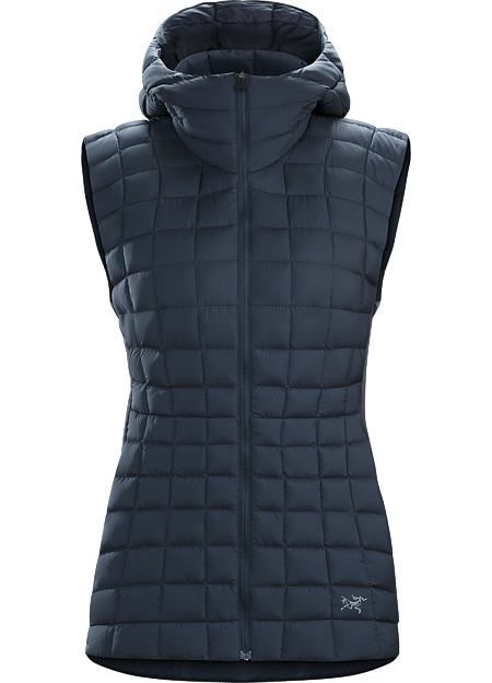 Lightweight, casual, hooded down vest with clean urban style.