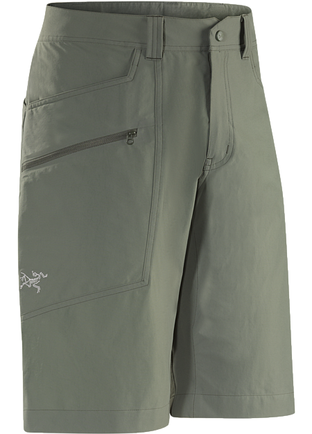 Mid-weight, articulated hiking shorts, designed and patterned for enhanced freedom of movement and comfort.