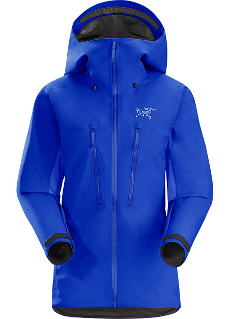 Ski alpinists' jacket combing zonal weather protection and thermal management.