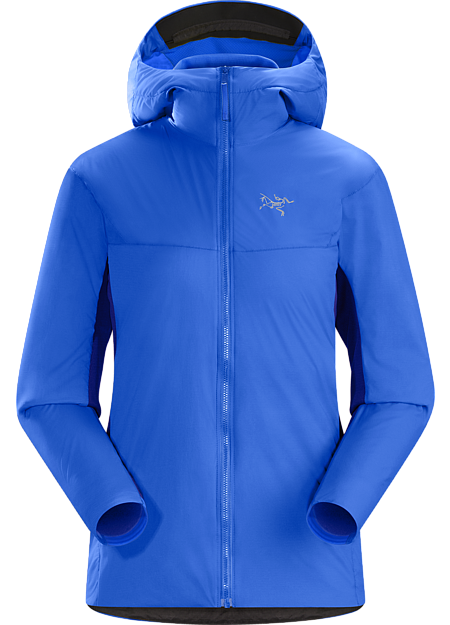 Women's hybrid fleece hoody that delivers thermal management and freedom of movement during ski alpinism's high output technical ascents.