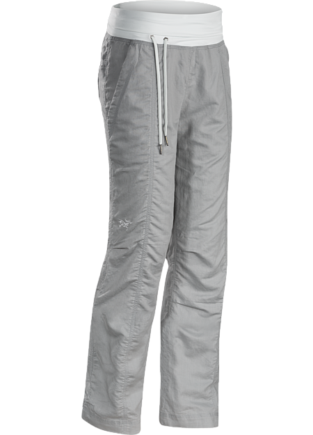 Lightweight, breathable, relaxed fit cotton/linen pant with a wide, comfortable fold-over waistband with drawcord, and elastic drawcord in the pant cuffs. Ideal for casual urban use in hot weather, or while travelling.
