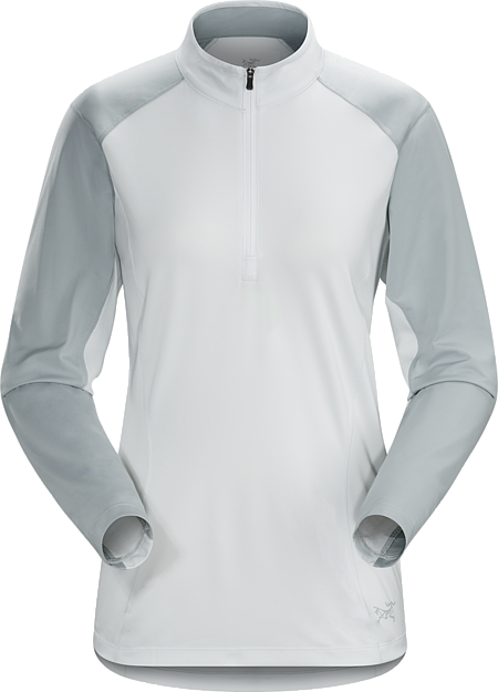 Light, moisture wicking long sleeve women's zip neck with performance stretch and durability. Designed for extended hiking, trekking and backpacking.