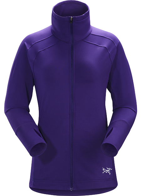 Light, soft, women's thermal mountain training jacket designed for warm up, cool down or as a cold weather midlayer.