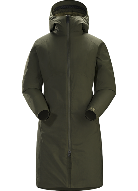 Women's specific, Insulated, windproof long coat with insulated hood and subtle design detailing. Ideal as a casual yet stylish urban coat for cold winter conditions.