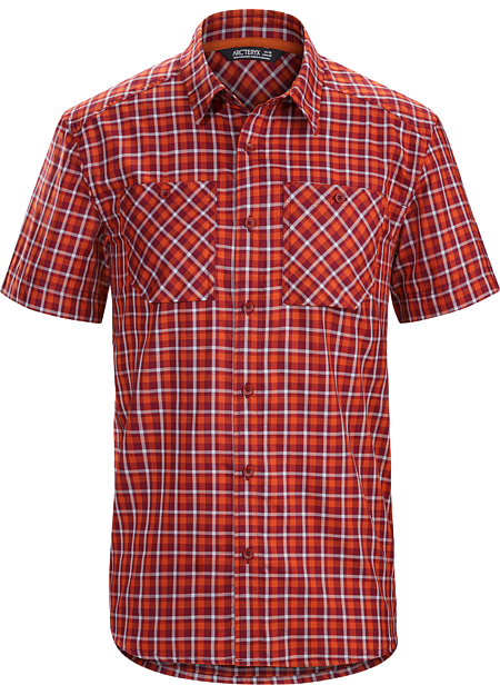 Plaid, short sleeve, relaxed fit button down shirt constructed with a premium quality Ryan™ wool/cotton blend fabric.