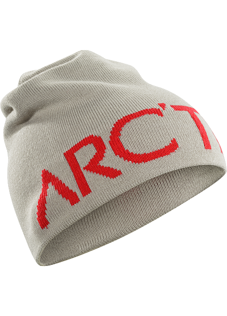 Longer length wool blend reversible toque with a bold Arc'teryx word logo on one side, solid color on the other.