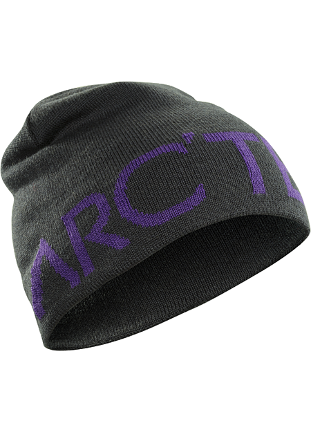 Close fitting wool blend reversible toque with a bold Arc'teryx word logo on one side, solid color on the other.