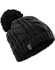 Cable Pom Pom Hat  Black/Black