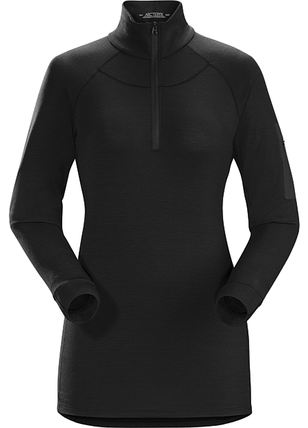 Satoro AR Zip Neck Shirt LS Women's Midweight Merino baselayer delivering wool performance with enhanced durability.