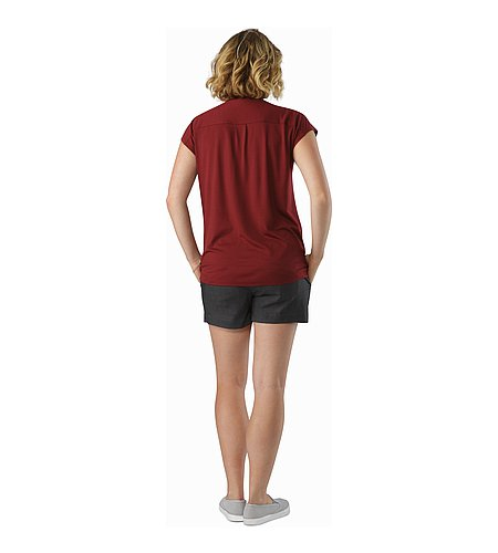 A2B Scoop Neck Shirt SS Women's Scarlet Back View