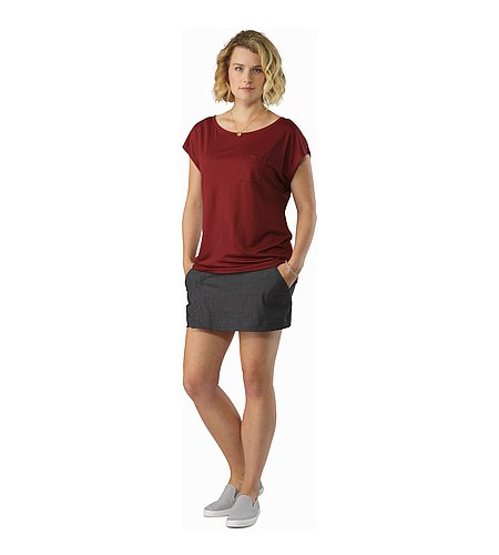 A2B Scoop Neck Shirt SS Women's Scarlet Front View