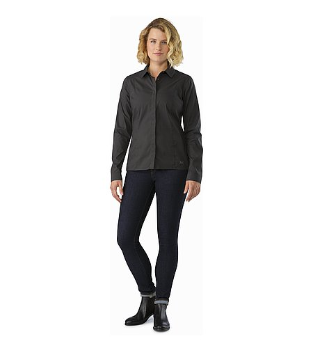 A2B Shirt LS Women's Charcoal Front View
