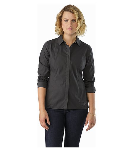 A2B Shirt LS Women's Charcoal Rolled Up Sleeves